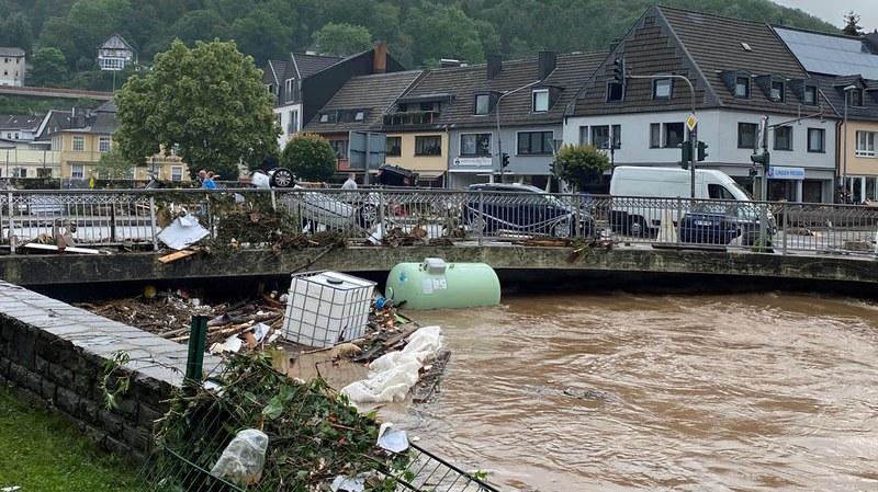 Auswirkungen des Hochwassers in Schleiden-Gemünd.