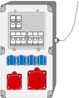 Verteiler (Steckdosenkombination) mit Kabeleinführung für flexible Leitung