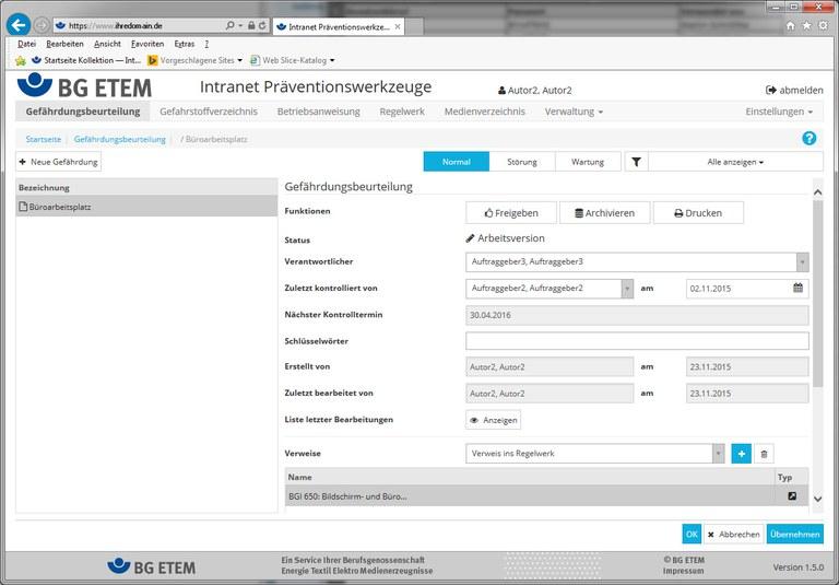 Screenshot der Intranet-Präventionswerkzeuge der BG ETEM